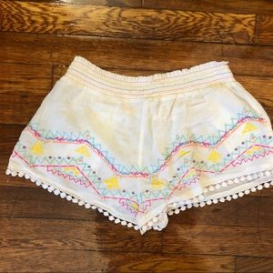 White Gauze Embroidered Shorts